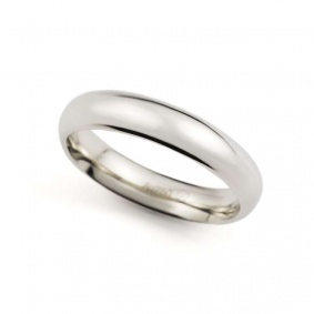 18k White Gold Court Shape Wedding Band 4mm